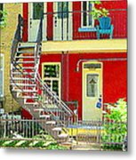 Art Of Montreal Upstairs Porch With Summer Chair Red Triplex In Verdun City Scene C Spandau Metal Print