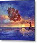 Art The Sea  A Girl Balloons Running Metal Print