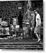 Art Walk - Bw Metal Print