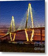 Arthur Ravenel Bridge At Evening  Metal Print