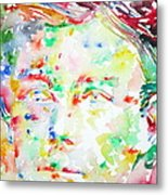 Arthur Rimbaud Watercolor Portrait Metal Print