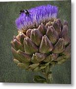 Artichoke Bloom And Bee Dip Metal Print
