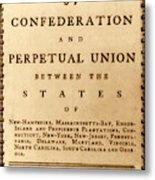 Articles Of Confederation, 1777 Metal Print