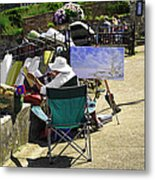 Artist At Work In Seaview - Isle Of Wight Metal Print