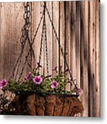 Artistic Hanging Basket Of Petunias Metal Print