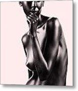Artistic Nude Beautiful Woman Beige Background Metal Print