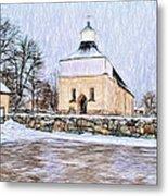 Artistic Presentation Of #svinnegarns #kyrka #church Of #svinnegarn March 2014 Viewed From The Parki Metal Print