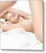 Artistic Sensual Closeup Of Nude Woman Lying In Bed Metal Print
