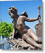 Artistic Statue On Alexandre Bridge Against Eiffel Tower Metal Print
