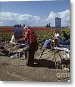Artists Painting Tulip Fields Standing In A Row  Metal Print