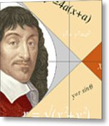 Artwork Of Rene Descartes With Equations And Lines Metal Print