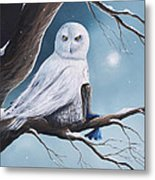 White Snow Owl Painting Metal Print