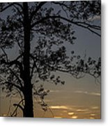 As The Sun Fades Behind The Mountian Metal Print
