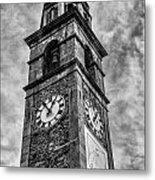 Ascona Clock Tower Bw Metal Print