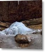Ash Cave Frozen Over Metal Print