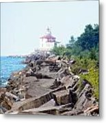 Ashtabula Lighthouse On Lake Erie Metal Print