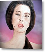 Asian Beauty Fade To Black Version Metal Print