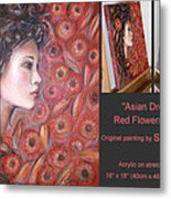 Asian Dream In Red Flowers 010809 Comp Metal Print