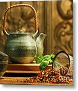 Asian Herb Tea Metal Print by Sandra Cunningham