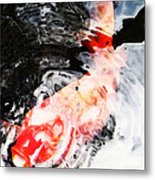 Asian Koi Fish - Black White And Red Metal Print