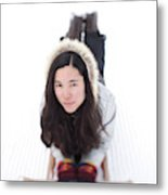 Asian Woman Posing For A Portrait Lying Metal Print
