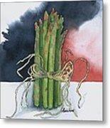 Asparagus In Raffia Metal Print