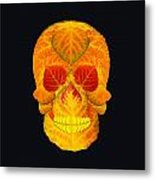 Aspen Leaf Skull 6 Black Metal Print