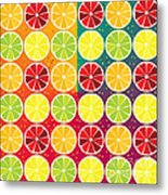 Assorted Citrus Pattern Metal Print