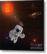 Astronaut And Sun With Stars Metal Print