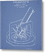 Astronomical Telescope Patent From 1943 - Light Blue Metal Print