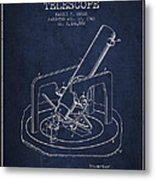 Astronomical Telescope Patent From 1943 - Navy Blue Metal Print