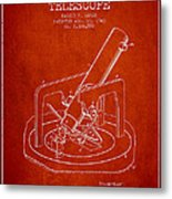 Astronomical Telescope Patent From 1943 - Red Metal Print