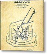Astronomical Telescope Patent From 1943 - Vintage Metal Print