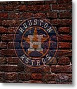 Astros Baseball Graffiti On Brick  Metal Print by Movie Poster Prints