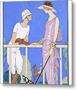 At Polo Metal Print by Georges Barbier