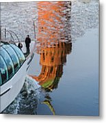 At The Background Of Moscow Kremlin - Featured 3 Metal Print
