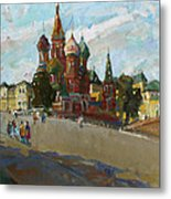 At The Cathedral Of Vasily The Blessed Metal Print