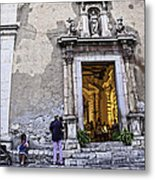 At The Church - Child's Curiosity - Sicily Metal Print