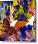 At The Garden Table Metal Print by August Macke