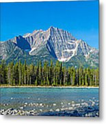 Athabasca River With Mountains Metal Print