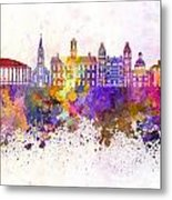 Athens - Oh Skyline In Watercolor Background Metal Print