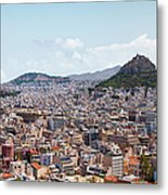 Athens Panorama View From The Acropolis Metal Print