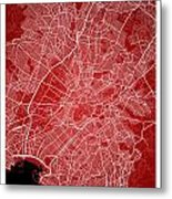 Athens Street Map - Athens Greece Road Map Art On Color Metal Print
