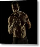 Athletic Female, Angry Shout, Clenched Metal Print