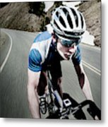 Athletic Male High Speed Cycling Metal Print