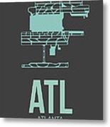 Atl Atlanta Airport Poster 2 Metal Print by Naxart Studio