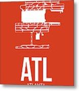 Atl Atlanta Airport Poster 3 Metal Print