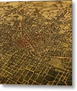 Atlanta Georgia City Schematic Street Map 1892 On Recovered Worn Parchment Paper Metal Print