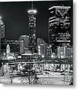 Atlanta Panoramic Black And White Metal Print
