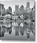 Atlanta Reflecting In Black And White Metal Print